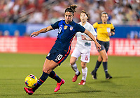FRISCO, TX - MARCH 11: Carli Lloyd #10 of the United States dribbles during a game between Japan and USWNT at Toyota Stadium on March 11, 2020 in Frisco, Texas.