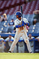 Hartford Yard Goats catcher Jan Vazquez (6) at bat during the first game of a doubleheader against the Trenton Thunder on June 1, 2016 at Sen. Thomas J. Dodd Memorial Stadium in Norwich, Connecticut.  Trenton defeated Hartford 4-2.  (Mike Janes/Four Seam Images)