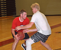RICK PECK/SPECIAL TO MCDONALD COUNTY PRESS  Colliar Gottfried (right) guards Garrett Gricks at MCHS basketball camp held on June 13-15 under the direction of new Mustang coach Brandon Jones.