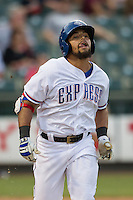 Round Rock Express designated hitter Rougned Odor (9) runs to first base during the Pacific Coast League baseball game against the Oklahoma City Dodgers on June 9, 2015 at the Dell Diamond in Round Rock, Texas. The Dodgers defeated the Express 6-3. (Andrew Woolley/Four Seam Images)