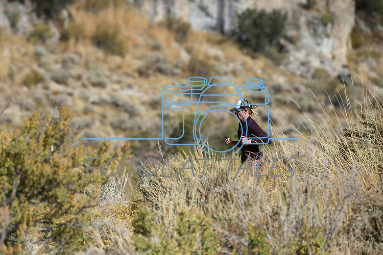 Half marathon runner Sarah Somers  competes in the 8th annual Take it to the Lake race at Cave Lake State Park, near Ely, Nev., on Saturday, Sept. 21, 2019.<br /> Photo by Cathleen Allison/Nevada Momentum