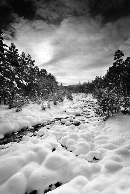 Frozen river in Aviemore, in one of the UK's coldest winters for 20 years