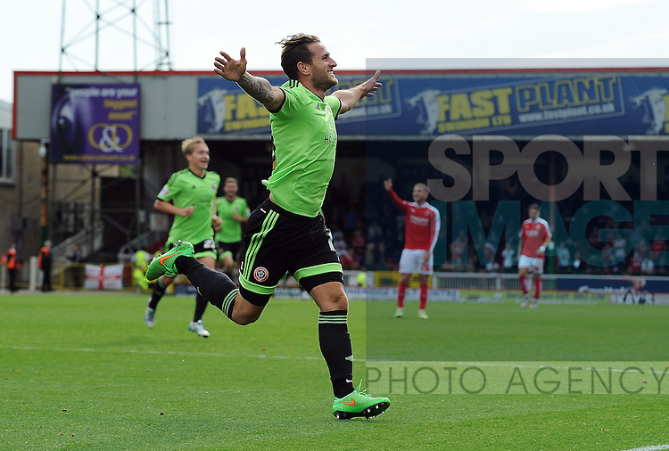 Billy Sharp of Sheffield United celebrates scoring his goal to make it 2-0<br /> - English League One - Swindon Town vs Sheffield Utd - County Ground Stadium - Swindon - England - 29th August 2015