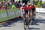 Bahrain-Merida recon Stage 1 of La Vuelta 2019, a team time trial running 13.4km from Salinas de Torrevieja to Torrevieja, Spain. 24th August 2019.<br /> Picture: Eoin Clarke | Cyclefile<br /> <br /> All photos usage must carry mandatory copyright credit (© Cyclefile | Eoin Clarke)