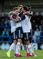 Bolton Wanderers' Ronan Darcy (centre) celebrates scoring his side's first goal with his team mates<br /> <br /> Photographer Andrew Kearns/CameraSport<br /> <br /> The Carabao Cup First Round - Rochdale v Bolton Wanderers - Tuesday 13th August 2019 - Spotland Stadium - Rochdale<br />  <br /> World Copyright © 2019 CameraSport. All rights reserved. 43 Linden Ave. Countesthorpe. Leicester. England. LE8 5PG - Tel: +44 (0) 116 277 4147 - admin@camerasport.com - www.camerasport.com