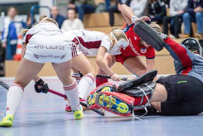 Mannheim, Germany, December 01: During the Bundesliga indoor women hockey match between Mannheimer HC and Nuernberger HTC on December 1, 2019 at Irma-Roechling-Halle in Mannheim, Germany. Final score 7-1. (Copyright Dirk Markgraf / 265-images.com) ***