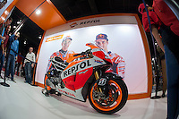 VALENCIA, SPAIN - NOVEMBER 7: Marc Marquez motorbike during DOS RODES at Feria Valencia on November 7, 2015 in Valencia, Spain