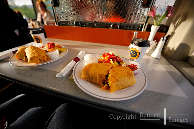The Alaska Railroad's Coastal Classic train features a full menu, including hearty breakfast burritos on the Goldstar first-class service.