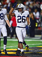 College Park, MD - NOV 25, 2017: Penn State Nittany Lions running back Saquon Barkley (26) celebrates a touchdown during game between Maryland and Penn State at Capital One Field at Maryland Stadium in College Park, MD. (Photo by Phil Peters/Media Images International)