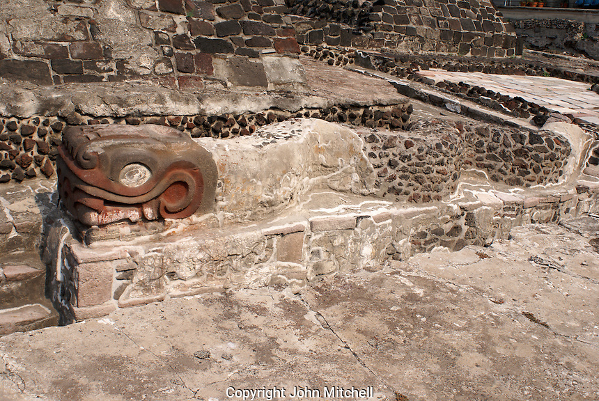 Writhing serpent sculpture at the foot of the Templo Mayor or Great Temple of Tenochtitlan, Mexico City