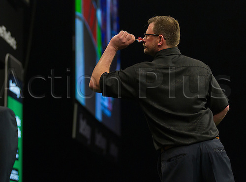 31.03.2016. The Motorpoint Arena, Cardiff.  Betway PDC Premier League Darts Judgement Night. James Wade during the match against Gary Anderson