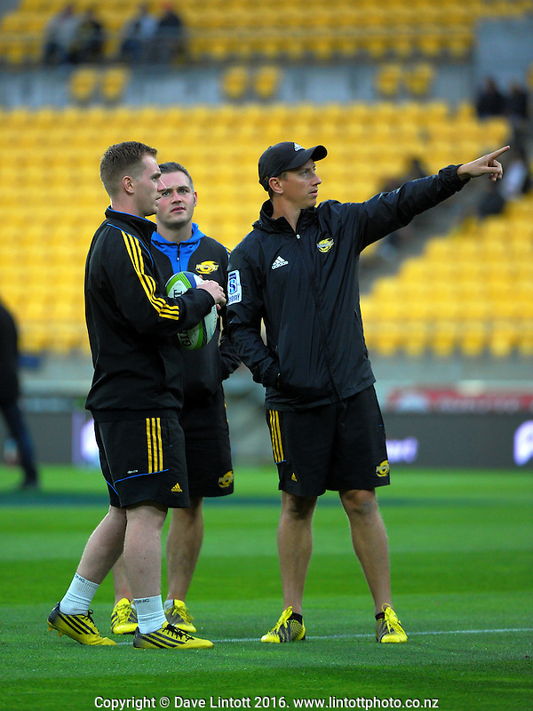 Strength and Conditioning coach Dave Wildash (right) with his new interns during the Super Rugby match between the Hurricanes and Southern Kings at Westpac Stadium, Wellington, New Zealand on Friday, 25 March 2016. Photo: Dave Lintott / lintottphoto.co.nz