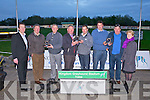 K.G.S.S.C.: Member's of the Kingdom Greyhound Stadium Supports Club committee presenting the Private trainer of the year and Public trainer of the year awards at the Kingdom Greyhound stadium on Saturday l-r: Declan Dowling (sales and operational manager KGS), Autie Moriarty (KGSSC), Tony Griffin (private trainer of the year), Dan Lynch (secretary KGSSC), Patrick O'Connor (public trainer of the year), Jonathan Best (KGSSC), Eamon Finn (private trainer of the year) and Miriam Downey.