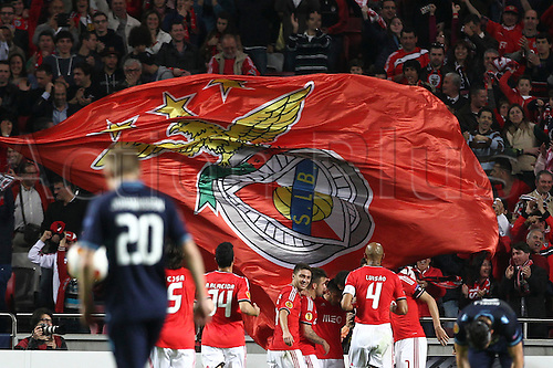 10.04.2014. Lisbon, Portugal.  Benfica players celebrate Benfica's Rodrigo Machado goal during the match between SL Benfica from Portugal and AZ Alkmaar from Netherlands during the second leg of the Quarter-finals of UEFA Europa League, at Benfica's Luz Stadium in Lisbon
