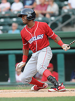 Outfielder Anthony Hewitt (12) of the Lakewood BlueClaws, Class A affiliate of the Philadelphia Phillies, in a game against the Greenville Drive on July 13, 2011, at Fluor Field at the West End in Greenville, South Carolina. (Tom Priddy/Four Seam Images)