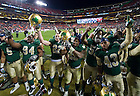 Nov. 12, 2011; Football players celebrate their 45-21 win over the Maryland Terrapins at FedEx Field. ..Photo by Matt Cashore/University of Notre Dame