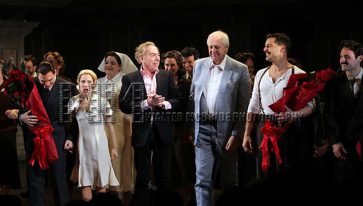 Michael Cerveris, Elena Roger, Andrew Lloyd Webber, Tim Rice & Ricky Martin with the Company.during the Broadway Opening Night Performance Curtain Call for 'EVITA' at the Marquis Theatre in New York City on 4/5/2012