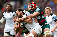 Steven Luatua of Bristol Bears is double-tackled by Sam Harrison and Sione Kalamafoni of Leicester Tigers. Gallagher Premiership match, between Leicester Tigers and Bristol Bears on April 27, 2019 at Welford Road in Leicester, England. Photo by: Patrick Khachfe / JMP