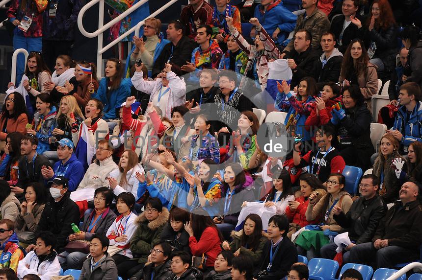 OLYMPICS: SOCHI: Iceberg Skating Palace, 13-02-2014, Shorttrack, 5000m Relay Men, Semifinals, shorttrack fans, ©photo Martin de Jong