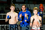 St Margaret's Boxing Club member Paddy Walsh, Kenmare, and Daniel Henrickson, Tralee winners of bronze at Smithfield Box Fest European Games last weekend Pictured with Coach Seanie O'Leary