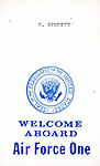 """WELCOME ABOARD Air Force One"" White House Air Force One seat assignment pass,"