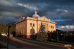 The old courthouse building in evening sunlight in Phillipsburg, Montana