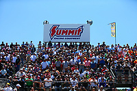 May 7, 2017; Commerce, GA, USA; NHRA fans in the sold out grandstands beneath a Summit Race Equipment sign during the Southern Nationals at Atlanta Dragway. Mandatory Credit: Mark J. Rebilas-USA TODAY Sports