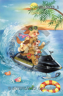 Interlitho, Michele, CUTE ANIMALS, paintings, 2 dogs, jetski(KL3233/1,#AC#) illustrations, pinturas ,everyday