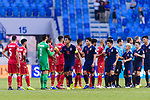 Teerasil Dangda of Thailand shakes hands with goalkeeper Sayed Shubbar Alawi of Bahrain  after the AFC Asian Cup UAE 2019 Group A match between Bahrain (BHR) and Thailand (THA) at Al Maktoum Stadium on 10 January 2019 in Dubai, United Arab Emirates. Photo by Marcio Rodrigo Machado / Power Sport Images