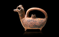 Phrygian decorated  terra cotta pottery  rhyton in the shape of a ram from Gordion. Phrygian Collection, 8th century BC - Museum of Anatolian Civilisations Ankara. Turkey. Against a black background