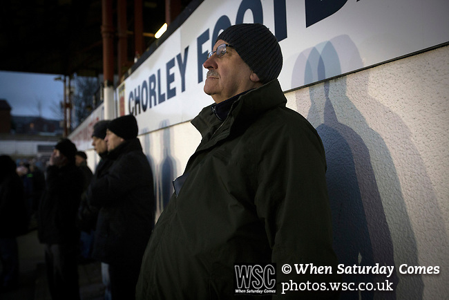 Chorley 2 Altrincham 0, 21/01/2017. Victory Park, National League North. Home supporters watching the action during the second-half at Victory Park, as Chorley played Altrincham (in yellow) in a Vanarama National League North fixture. Chorley were founded in 1883 and moved into their present ground in 1920. The match was won by the home team by 2-0, watched by an above-average attendance of 1127. Photo by Colin McPherson.