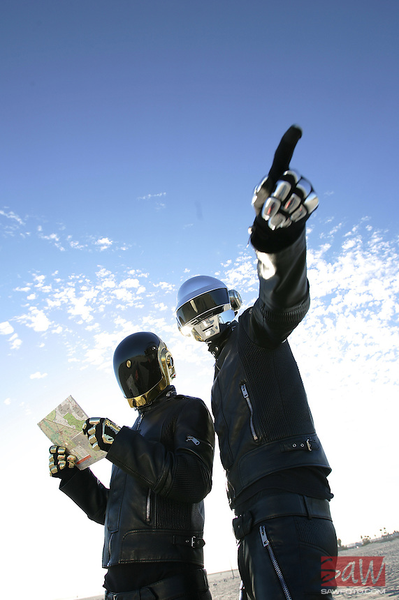 Daft Punk's Guy-Manuel de Homem Christo and Thomas Bangalter, left-right, at Seal Beach April 13, 2006 for cover photo illustration for Calendar Weekend cover on the Coachella Music Festival. www.daftpunk.com/.