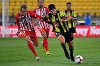 Wellington Phoenix&rsquo; Liberato Cacace and Melbourne City&rsquo;s Nathaniel Atkinson in action during the A League - Wellington Phoenix v Melbourne City FC at Westpac Stadium, Wellington, New Zealand on Saturday 26 January 2019. <br /> Photo by Masanori Udagawa. <br /> www.photowellington.photoshelter.com
