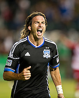 SANTA CLARA, CA - July 18, 2012: San Jose Earthquake forward Alan Gordon (16) celebrating his goal during the San Jose Earthquakes vs  FC Dallas match at the Buck Shaw Stadium in Santa Clara, California. Final score San Jose Earthquakes 2, FC Dallas 1.