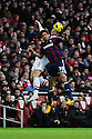 Ryan Shotton of Stoke City vies for the ball with Olivier Giroud of Arsenal during the  English Premier League soccer match between Arsenal and Stoke City in London,UK,02 February  2012.THOMAS CAMPEAN/Pixel8000 Ltd...