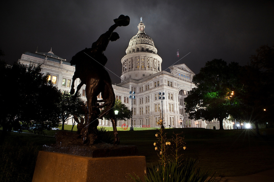 "The bronze statue was presented to the State of Texas, ""native home of the cowboy."" by the notable American sculptor Constance Whitney Warren. It represents the artist's portrayal of a typical Texas cowboy riding a rearing horse, and is a tribute to the ""rough and romantic riders of the range."""