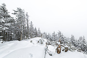 November 2013 - Whiteout conditions on Mount Tecumseh in Waterville Valley, New Hampshire. Illegal tree cutting has improved the view from the summit. Forest Service verified this vandalism is unauthorized.