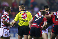 PICTURE BY VAUGHN RIDLEY/SWPIX.COM - Rugby League - Super League - Wigan Warriors v Warrington Wolves - JJB Stadium, Wigan, England - 23/03/12 - Sport Relief Referee Shirt.