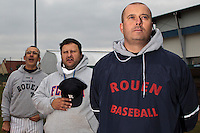 17 October 2010: Assistant coaches Francois Colombier, Gregory Fages, and Team manager Robin Roy are seen prior to Rouen 10-5 win over Savigny, during game 2 of the French championship finals, in Savigny sur Orge, France.