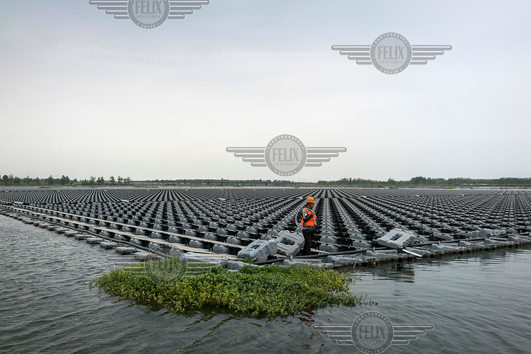 Workers, from the power company Sungrow, wire up an array of solar panels to an inverter. The panels each attach to a buoy floating in a man-made lake created over a flooded coal mine.