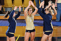 12 October 2008:  FIU outside hitter Yarimar Rosa (3) celebrates with teammates after the FIU victory 3-0 (25-18, 25-17, 25-20) over North Texas at Panther Arena in Miami, Florida.