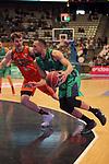 League ACB-ENDESA 2017/2018. Game: 30.<br /> Divina Seguros Joventut vs Valencia Baket Club: 77-75.<br /> Aaron Doomekamp vs Demitrius Conger.