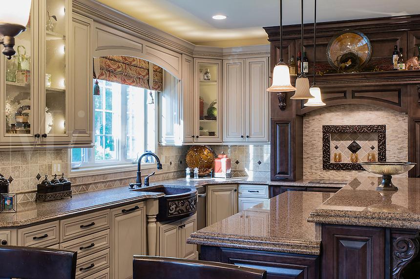 Upscale kitchen interior design.