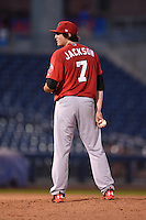 Frisco Rough Riders pitcher Luke Jackson (7) looks in for the sign during the second game of a doubleheader against the Tulsa Drillers on May 29, 2014 at ONEOK Field in Tulsa, Oklahoma.  Frisco defeated Tulsa 3-2.  (Mike Janes/Four Seam Images)