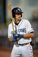 Charlotte Stone Crabs center fielder Josh Lowe (28) during a game against the Dunedin Blue Jays on June 5, 2018 at Charlotte Sports Park in Port Charlotte, Florida.  Dunedin defeated Charlotte 9-5.  (Mike Janes/Four Seam Images)