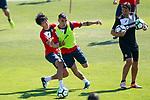 Getafe's Gaku Shibasaki (l) and Mauro Arambarri during training session. September 12,2017.(ALTERPHOTOS/Acero)