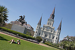 April 14, 2006 - Statue of Andrew Jackson in front of St. Louis Cathedral on Jackson Square, New Orleans, LA
