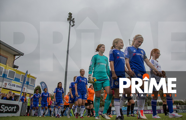 The Team are lead out during the Women's Continental Cup match between Chelsea Ladies and London Bees at Wheatsheaf Park, Staines, England on 30 August 2015. Attendance 597. Photo by Andy Rowland.