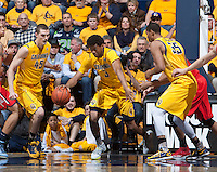 Tyrone Wallace of California rebounds the ball during the game against Arizona at Haas Pavilion in Berkeley, California on February 1st, 2014.  California Golden Bears defeated Arizona Wildcats, 60-58.