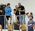 21.08.2014, Sprung und Schwimmhalle, Berlin, GER, 32. LEN European Swimming Championschip 2014, Springen, , im Bild Freundin von Harting, Alexandra Swiridenko, Robert Harting<br /> <br />               <br /> Foto © nordphoto /  Engler